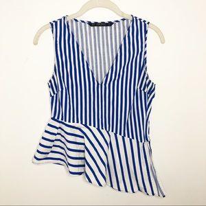 Zara Blue Striped Asymmetrical Peplum Tank Top